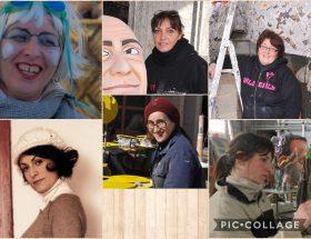 1 donne con le mani in carta le donne della cartapesta del carnevale di viareggio