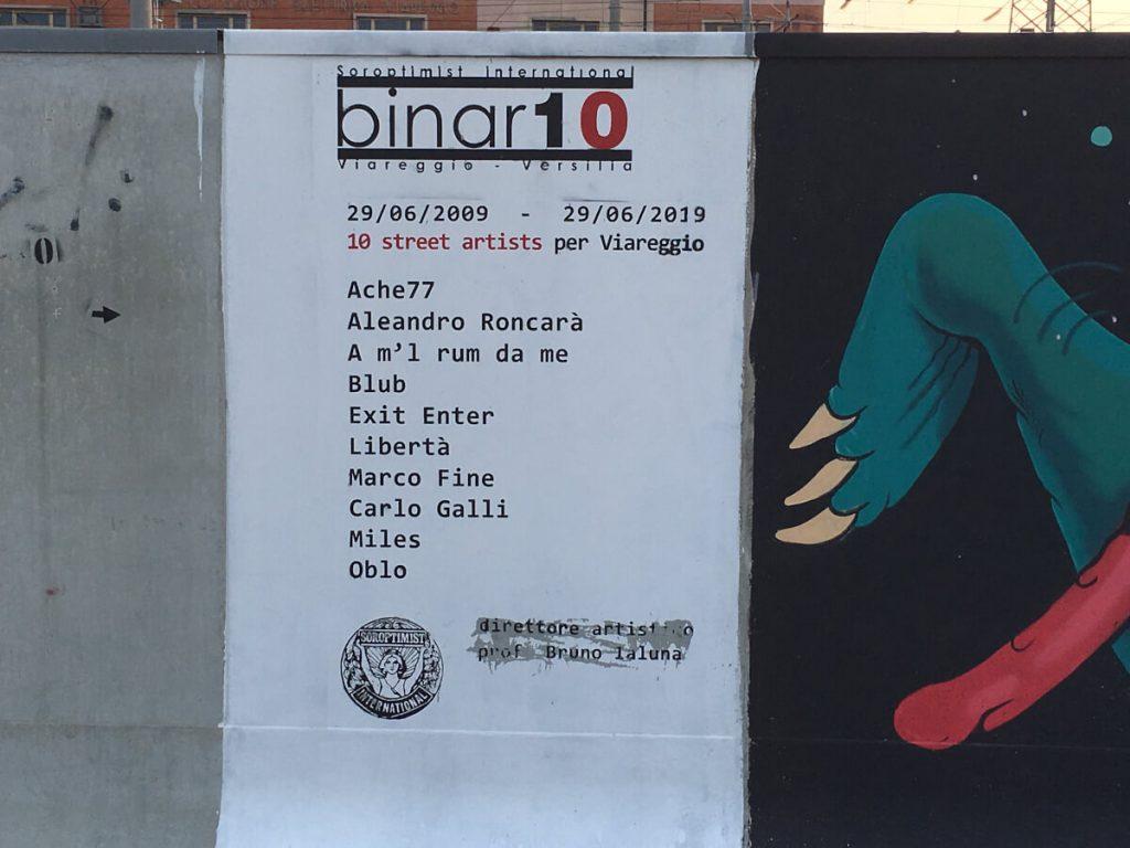 9 binario 10 Viareggio l incipit con i nomi di tutti gli artisti ok