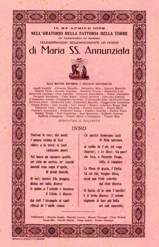 oratorio ss annunziata piano di mommio massarosa lucca sonetto 1932