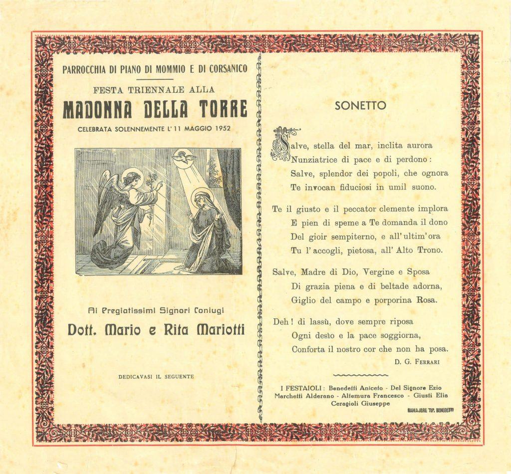 oratorio ss annunziata piano di mommio massarosa lucca sonetto 1952